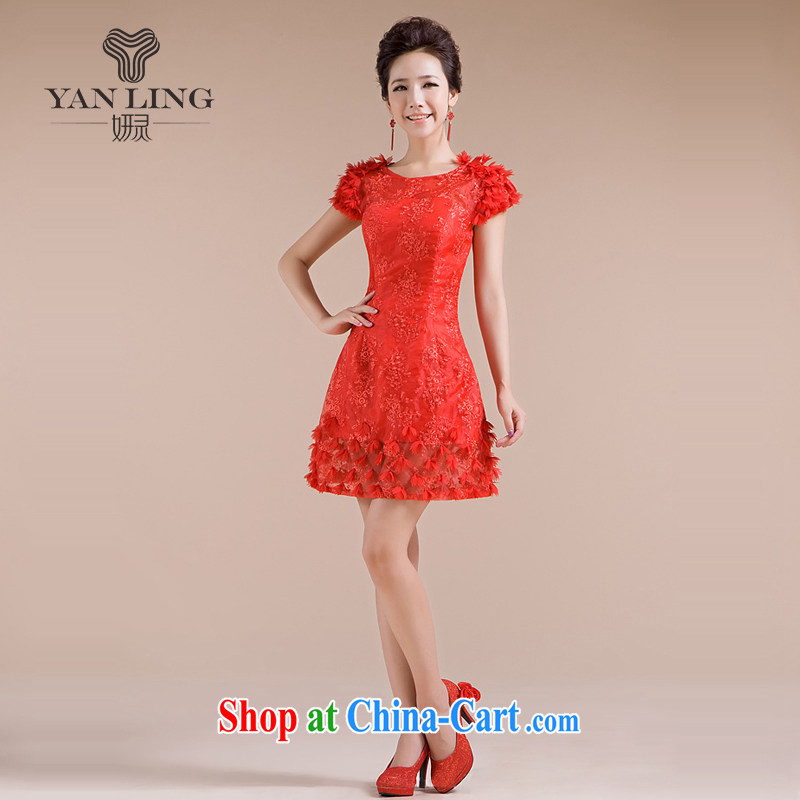 2015 new dress Openwork lace shoulder lace dress with small beauty dress LF 153 red XXL