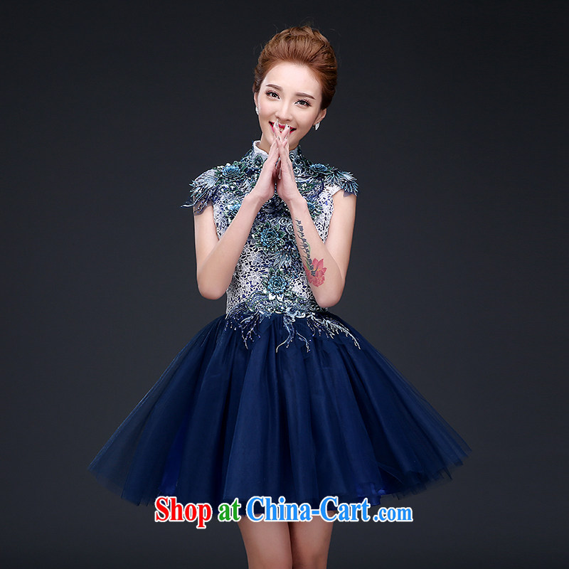 Sophie HIV than Evening Dress summer stylish and elegant short dress beauty graphics thin dress evening banquet small dress bridesmaid dress annual meeting of persons chairing dark blue S