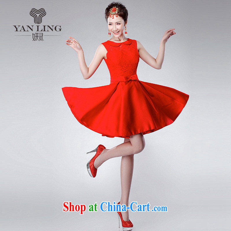 2015 new wedding toast serving red shoulders, felt that the small dress short version won the wedding dress LF 175 red XXL