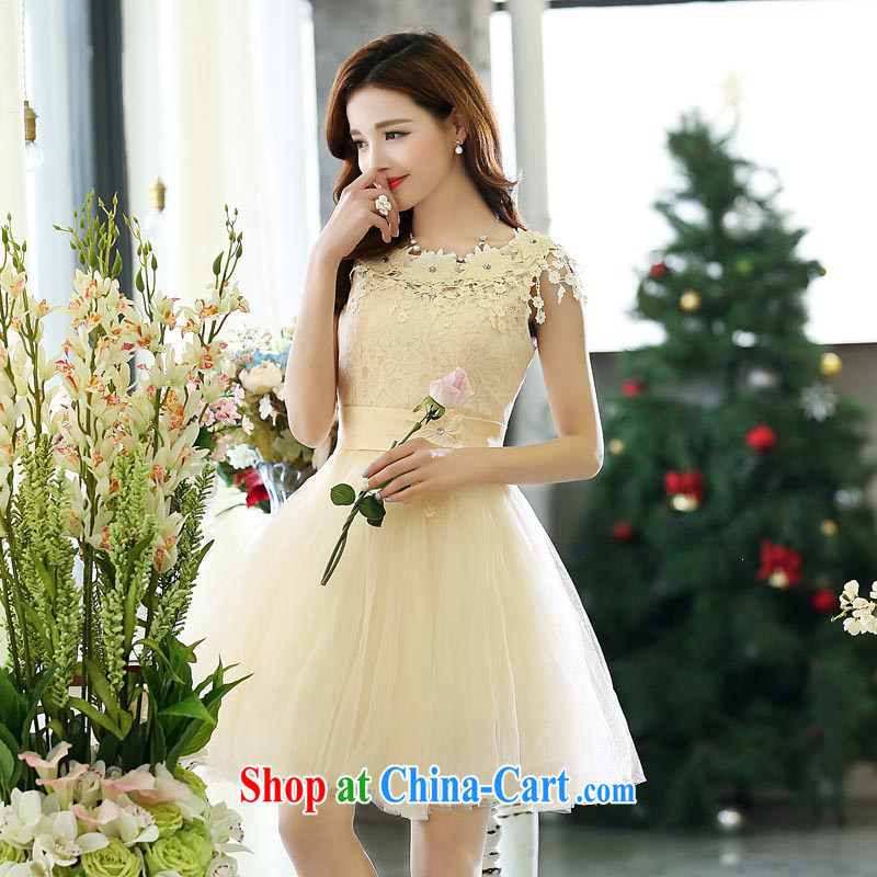 Air Shu Diane 2015 spring new back exposed small dress bridesmaid short Princess shaggy evening dress wedding dress show bows service beige S