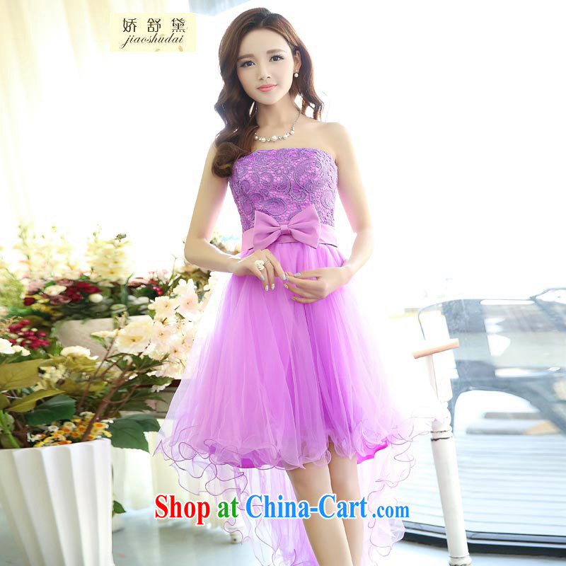 Air Shu Diane 2015 red short shaggy dress dress bridal wedding dresses bare chest toast clothing bridesmaid dress fall and winter season, Purple XL