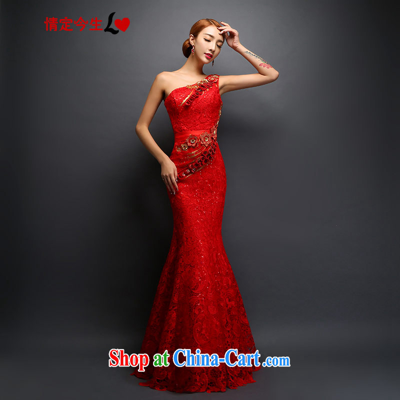 Love Life dress single shoulder bridal toast serving red embroidery, water-soluble lace inserts drill retro crowsfoot sexy dress beauty graphics thin red XS