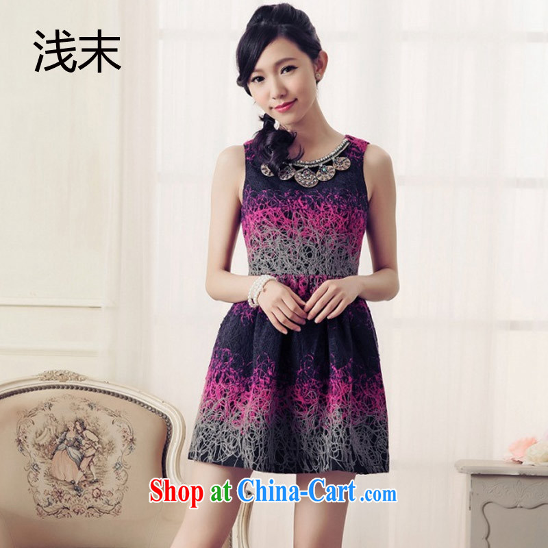 Shallow end (QIAN MO) name Yuan graphics thin beauty activities luxury jewelry sleeveless style small fragrant wind dress dress 6019 purple XXL
