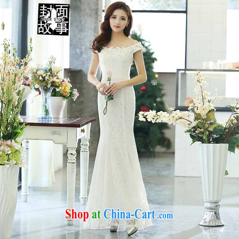 Cover Story 2015 new, simple and a shoulder at Merlion video thin bridal wedding dress bridal toast with cultivating dinner dress dress white XL