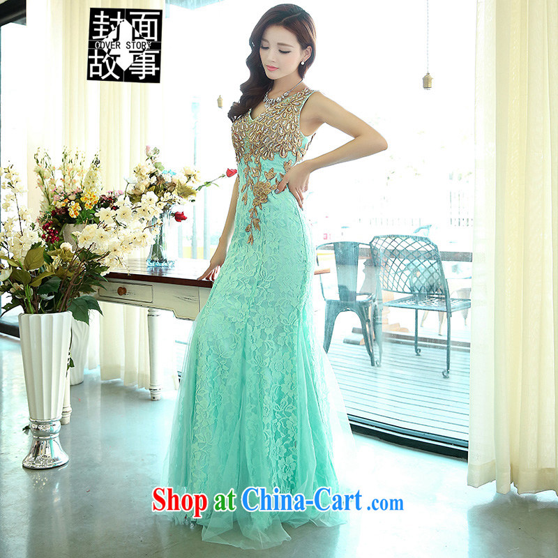 Cover Story 2015 new, luxurious, elegant and sexy shoulders crowsfoot bridal dresses car model Kit moderator performance service bridal toast dress water green XL