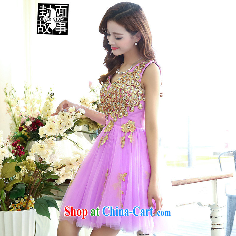 Cover Story 2015 new, ornate wooden drill V collar short, small dress brides with bridal toast tea dress dress dress purple XL