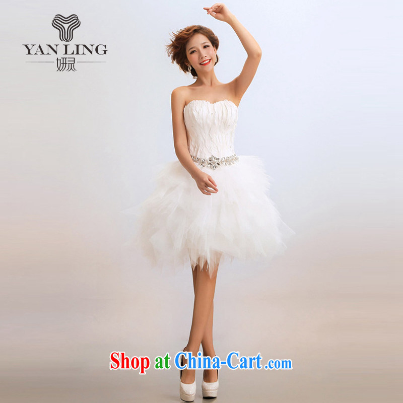 2015 new stylish stars with short marriages wedding dresses show hosted service white XL
