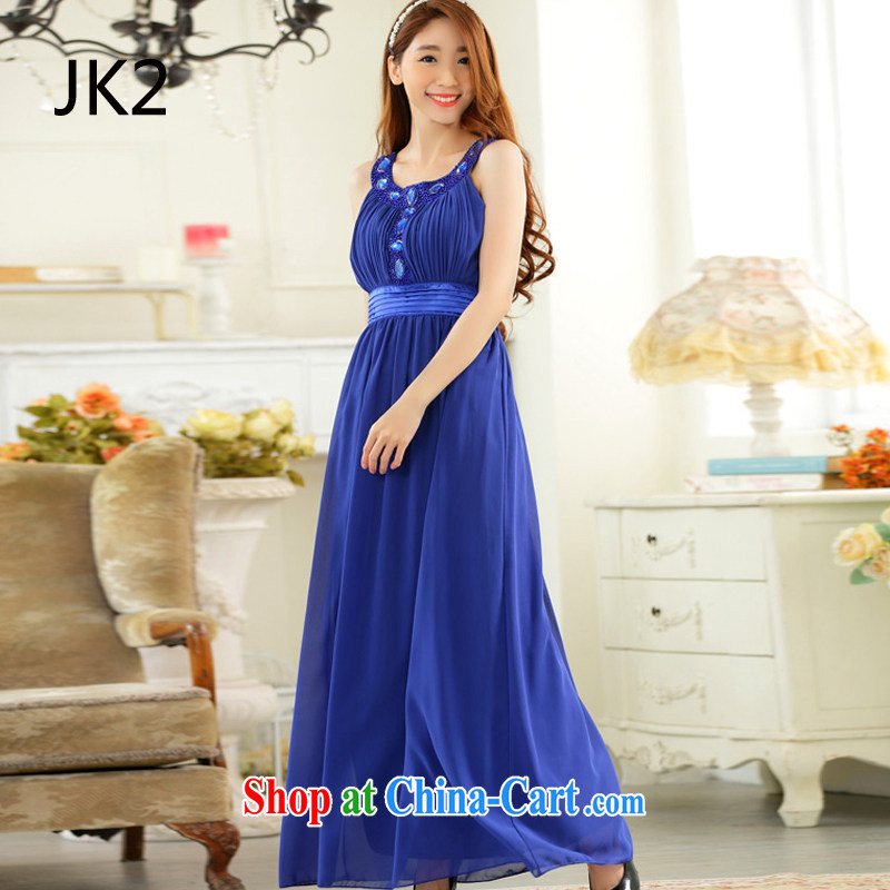 High-end, shoulder a purely manual staple Pearl big drill long dress snow woven dresses JK 2 blue XXXL