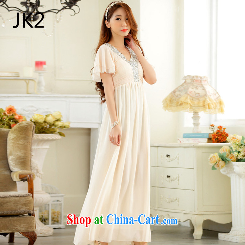 High-end atmosphere annual horn cuff, V collar long dress snow woven dresses JK 2 champagne color XXXL