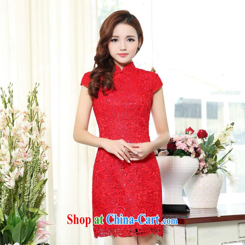 Caesar 164 wedding dresses new 2015 red long bridal wedding dress girl toast serving bridesmaid clothing winter skirts red XXXL