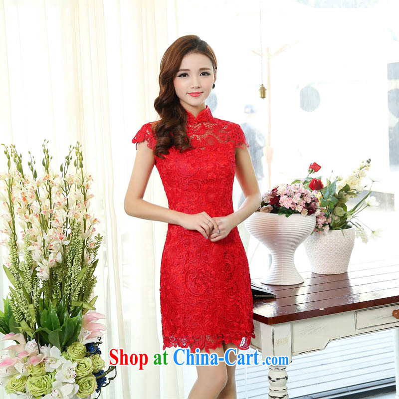 Caesar 165 wedding dresses new 2015 red, long, bridal wedding dress girl toast serving bridesmaid clothing winter short-sleeved red XXL