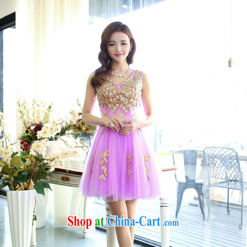 Caesar 177 wedding dresses new 2015 red long bridal wedding dress girl toast serving bridesmaid clothing winter V collar purple XL