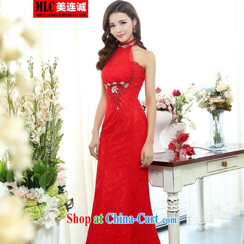 The US even-wedding dresses 2015 new erase chest crowsfoot long cultivating red-chip bridal toast serving bridesmaid dress red S