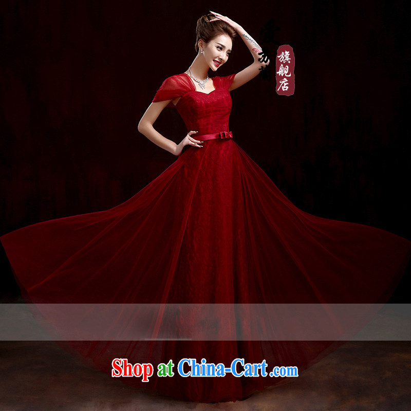 Marriages served toast wine red long dress New Beauty dress new Korean long red package shoulder high waist dress dark red XXXL
