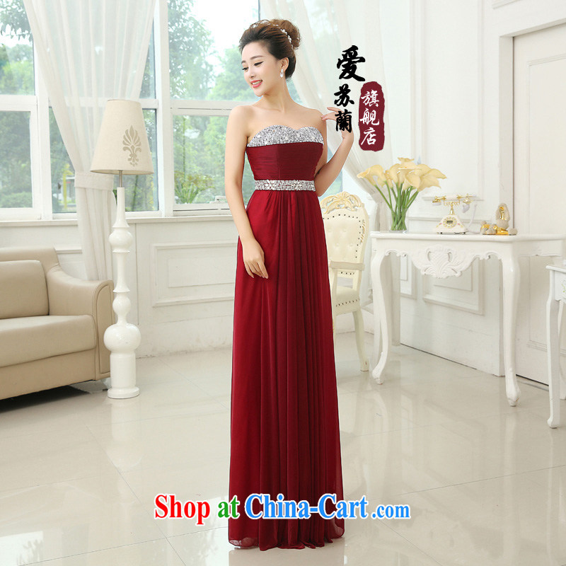 2015 New Long wedding dress wiped chest dress toast winter clothing winter pregnant fashion bridal evening dress dark red XXXL