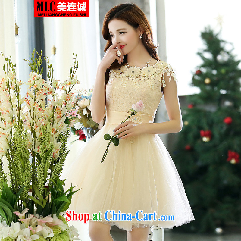 The double-wedding dresses 2015 new bridesmaid serving short sweet bride shaggy dress bows shoulders embroidered flouncing sexy dress white S
