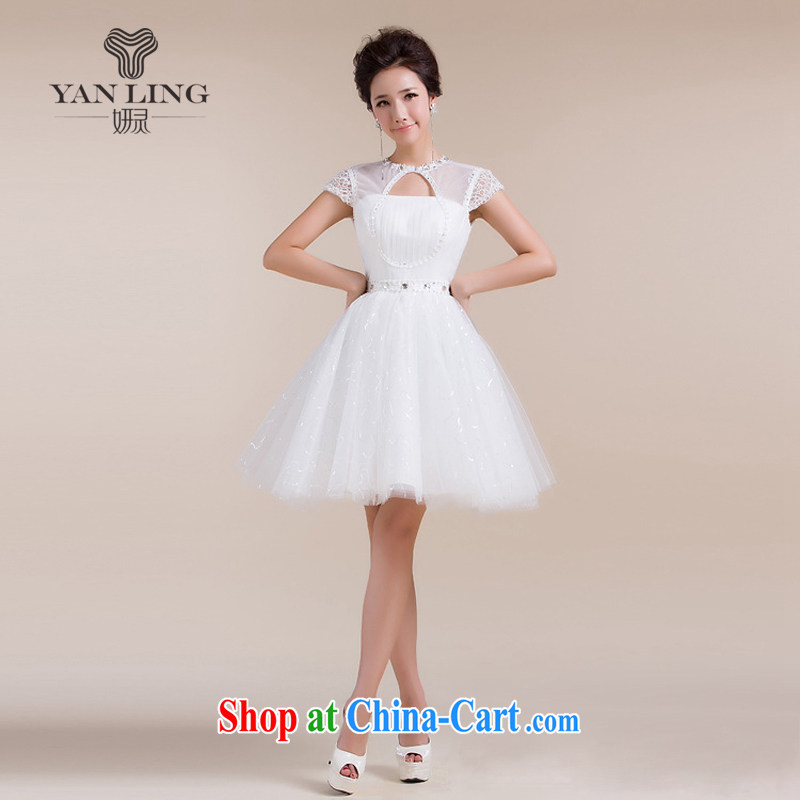 2015 new erase chest Openwork field shoulder stylish short skirts small dress bridesmaid clothing white s