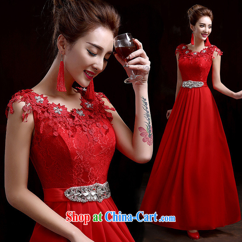 wedding dresses bows service 2015 new marriages long Graphics thin chair show banquet bridesmaid evening dress red XL