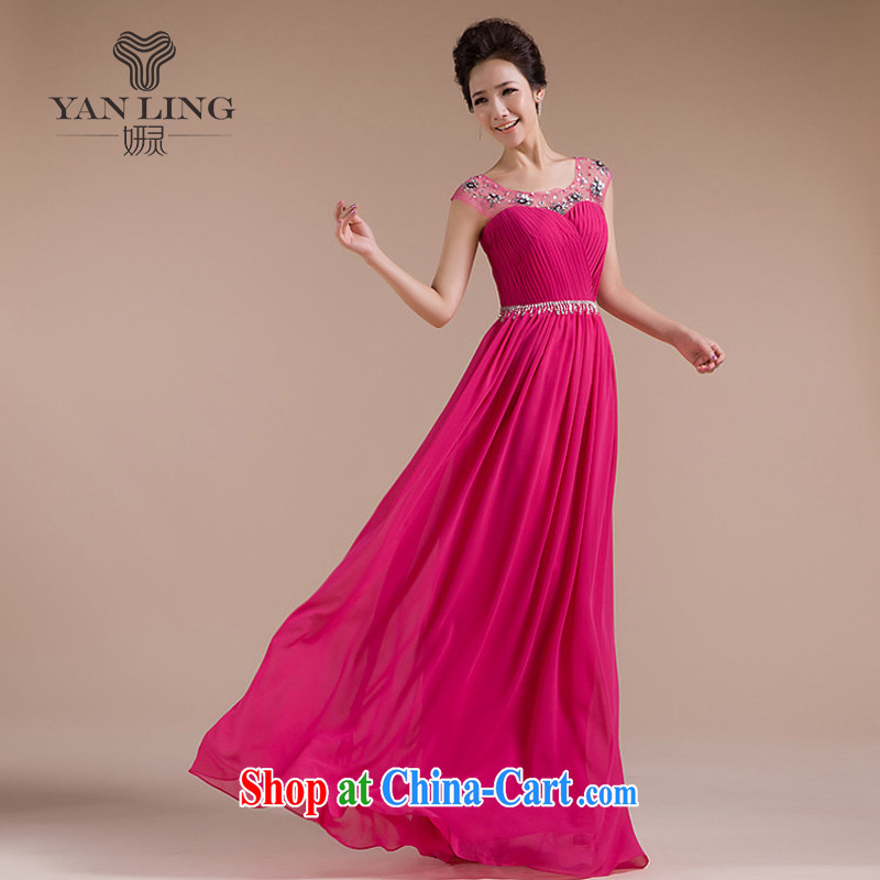 2015 new bride wedding dresses evening dress uniform toast long wedding snow woven dresses LF 1003 purple XXL