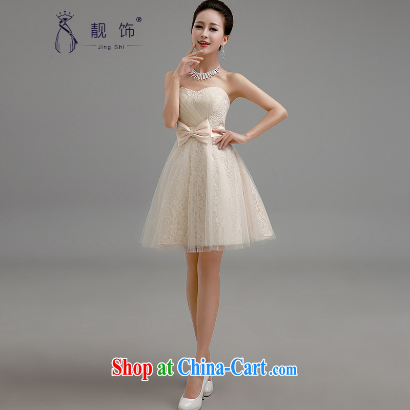 Beautiful ornaments 2015 new bridesmaid dress Mary Magdalene ballet chest Silk Dresses skirts shaggy dress tied with a small dress sister skirt champagne color. contact Customer Service