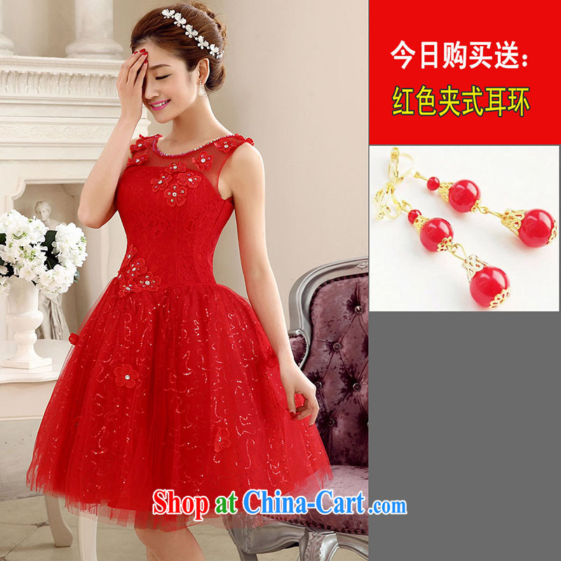 married love bridal toast service 2014 New Red wedding dress skirt double-shoulder short wedding dresses banquet dress winter Red field shoulder XL