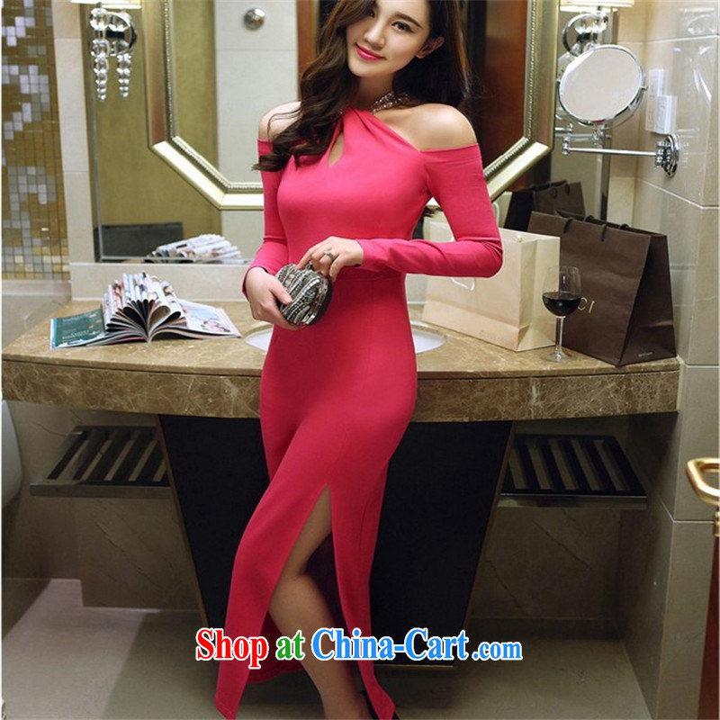Connie, Texas real-time concept 2015 new sexy name Yuan Hang also convey the bare shoulders long-sleeved the forklift truck package and dress dress long skirt rose red L
