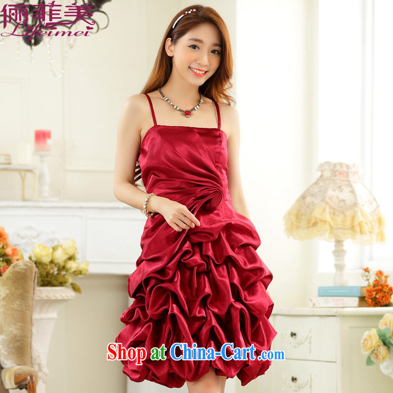 An Philippines and the United States 2015 new stylish evening dress straps the wrinkles show skirts lantern skirt the small dress dresses package mail wine red XXXL