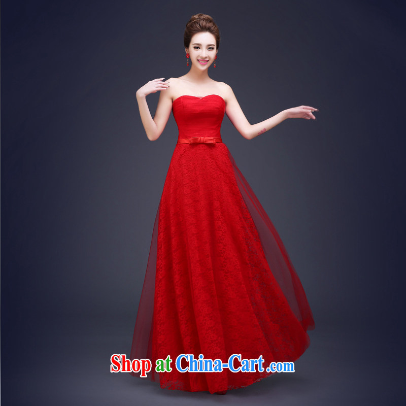Honey, bride bridal dresses 2015 New Long bows, serving modern Korean version binding with bare chest lace Evening Dress presided over his female Red L