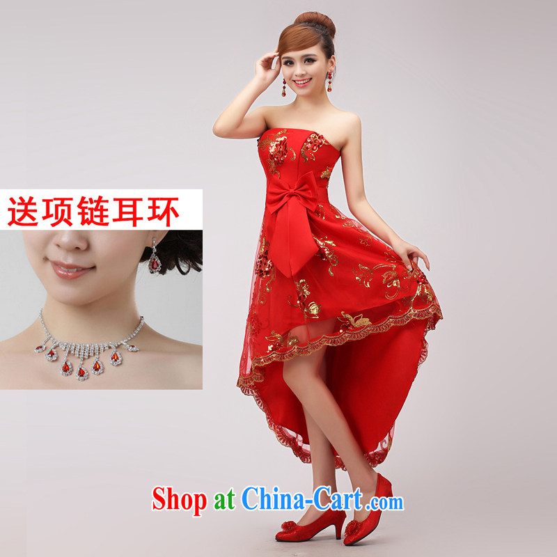 married love toast Service Bridal Fashion 2015 new wedding dresses short before long after erase chest lace wedding dress autumn female Red XXL