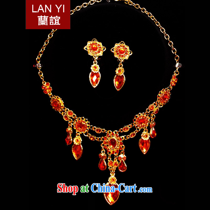 LAN friends bridal wedding dresses accessories jewelry Korean Red water diamond necklace earrings bridal-jewelry and ornaments