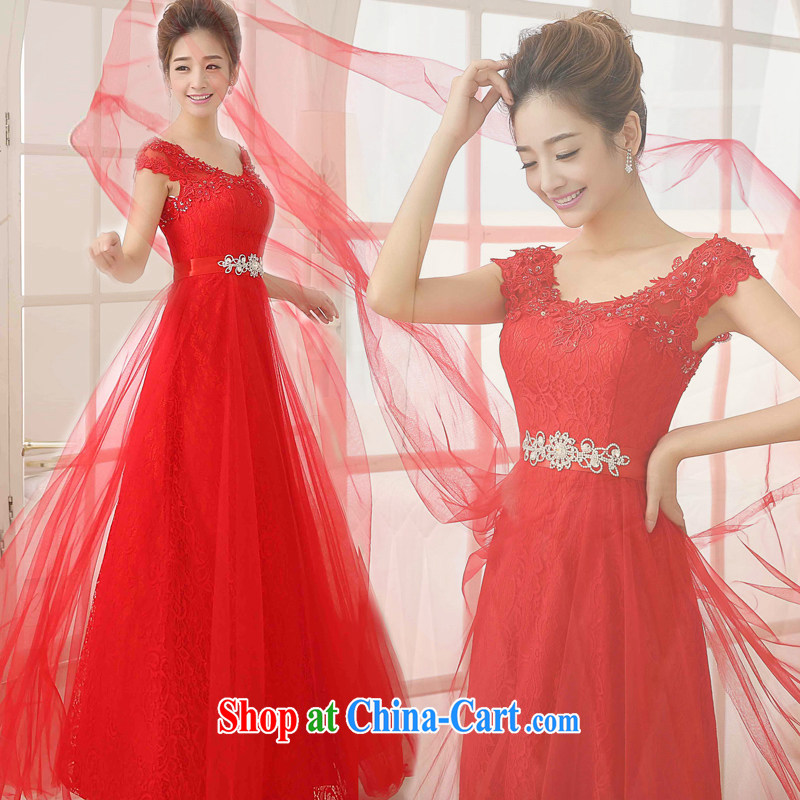 Getting married is really love toast Service Bridal Fashion 2015 new wedding dresses the Field shoulder Deep V collar long marriage dress autumn and winter red XXL