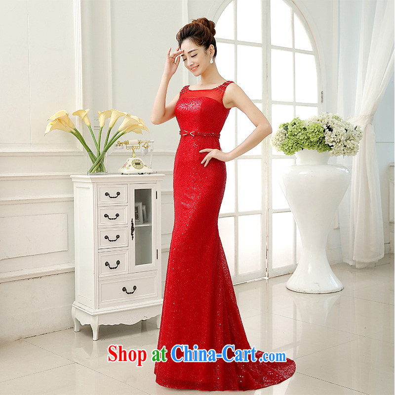 married love toast Service Bridal Fashion 2015 new wedding dresses shoulders crowsfoot wedding dress tail serving the autumn and winter red XL