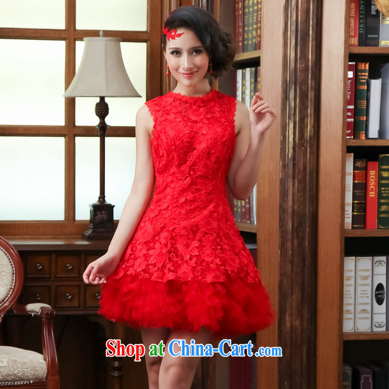 married love 2014 new larger Winter Package and short, shoulders the shoulder the Show bridesmaid bridal dinner with small dress red XL