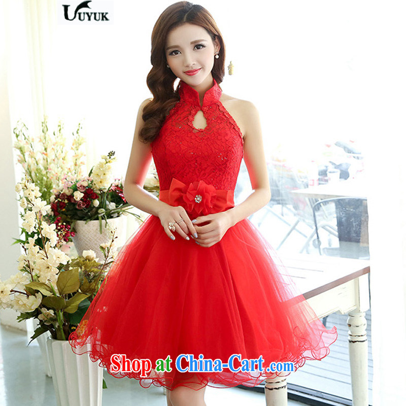 UYUK new fashion toast clothing bridesmaid serving only the elegant wedding dress lace European root dress red XL