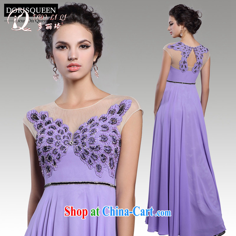 More LAI Ki 2015 annual spring evening dress purple long, exclusive bridesmaid dress elegant banquet Evening Dress skirt light purple XL