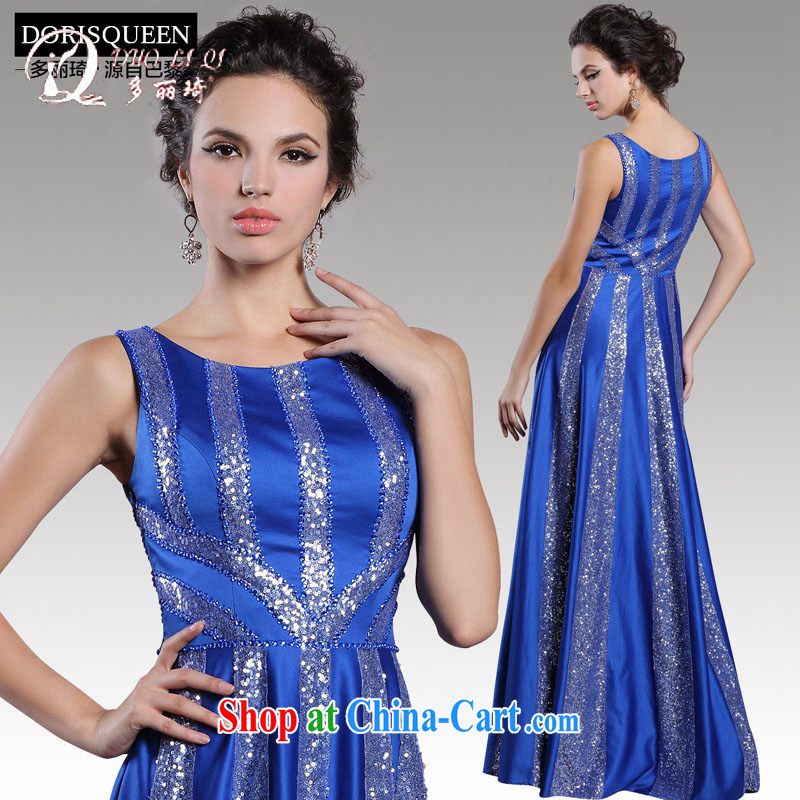 More LAI Ki 2015 bridal toast winter clothing blue staple Pearl long dress banquet dress blue XXL