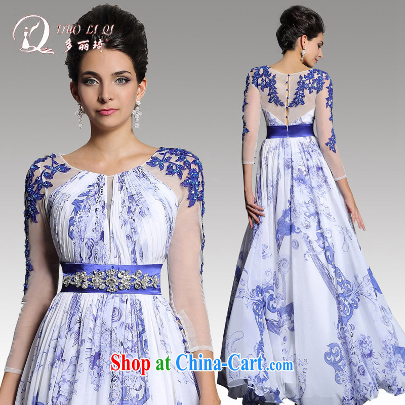 Multi-LAI Ki dress spring 2015 China wind Peony stamp long skirt long-sleeved blue dress chair white M