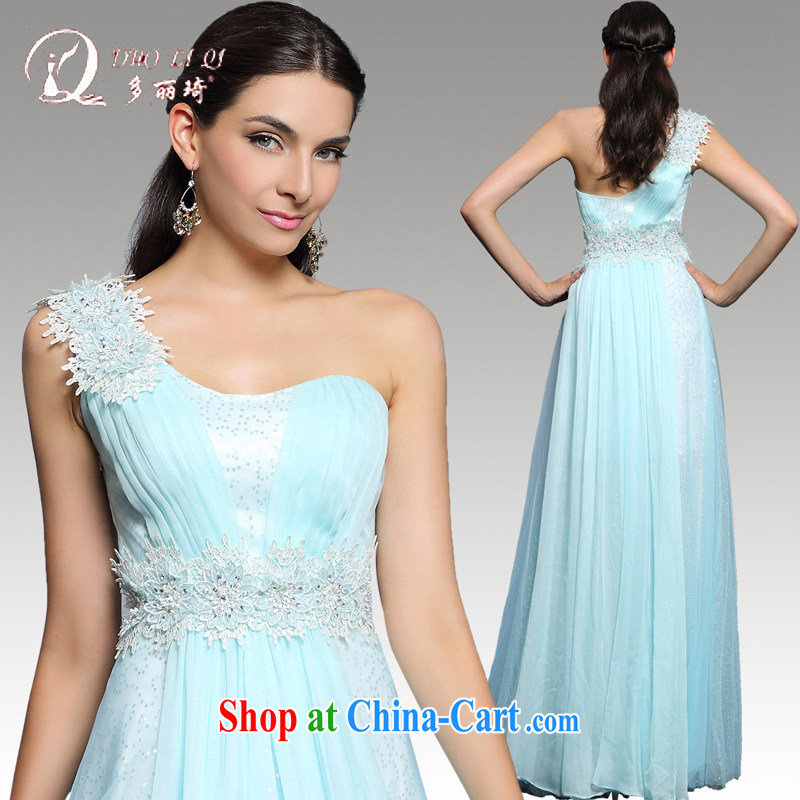 More LAI Ki annual Evening Dress 2014 long winter beauty, sense of the shoulder Banquet Hosted blue dress light blue XXL