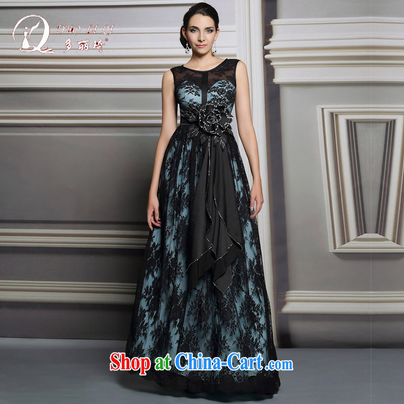 Multi-LAI Ki Annual Meeting Evening Dress 2014 winter long, upscale dinner show the moderator dress girls black XXL