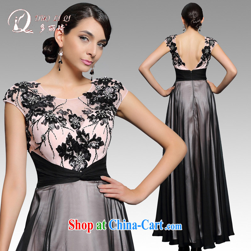 More LAI Ki 2015 Evening Dress black long sleeved company dress annual long Banquet Hosted Service winter black XXL