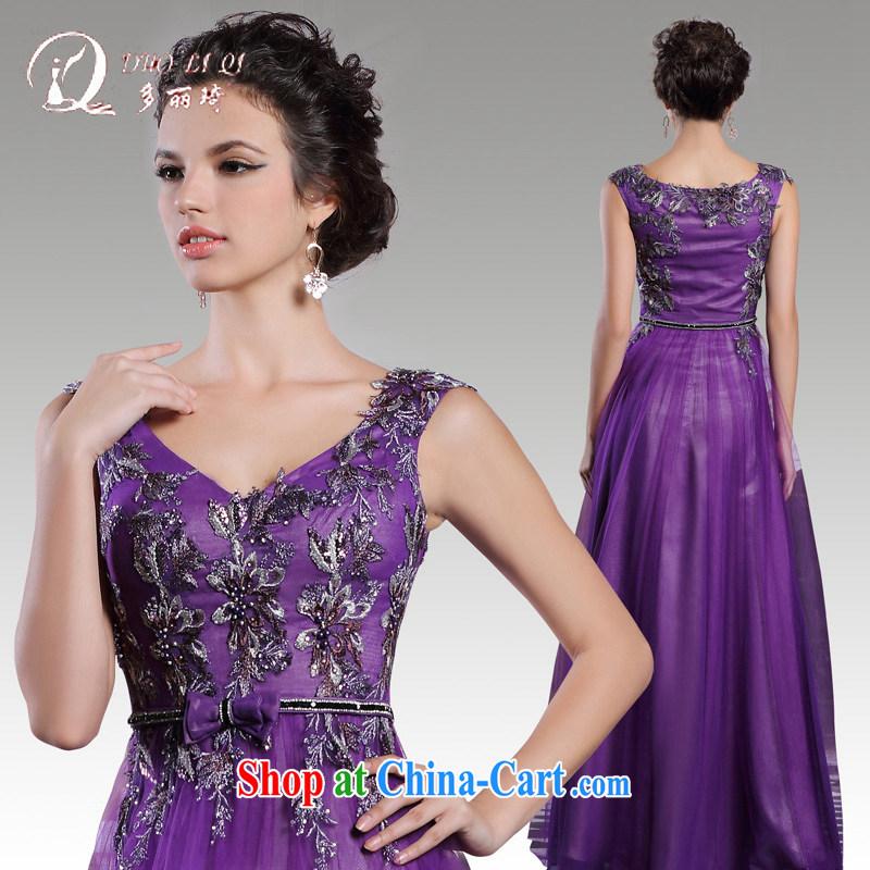 Multi-LAI Ki 2015 autumn and winter bridesmaid dresses serving toast long purple shoulders sense of annual banquet dress light purple XXL