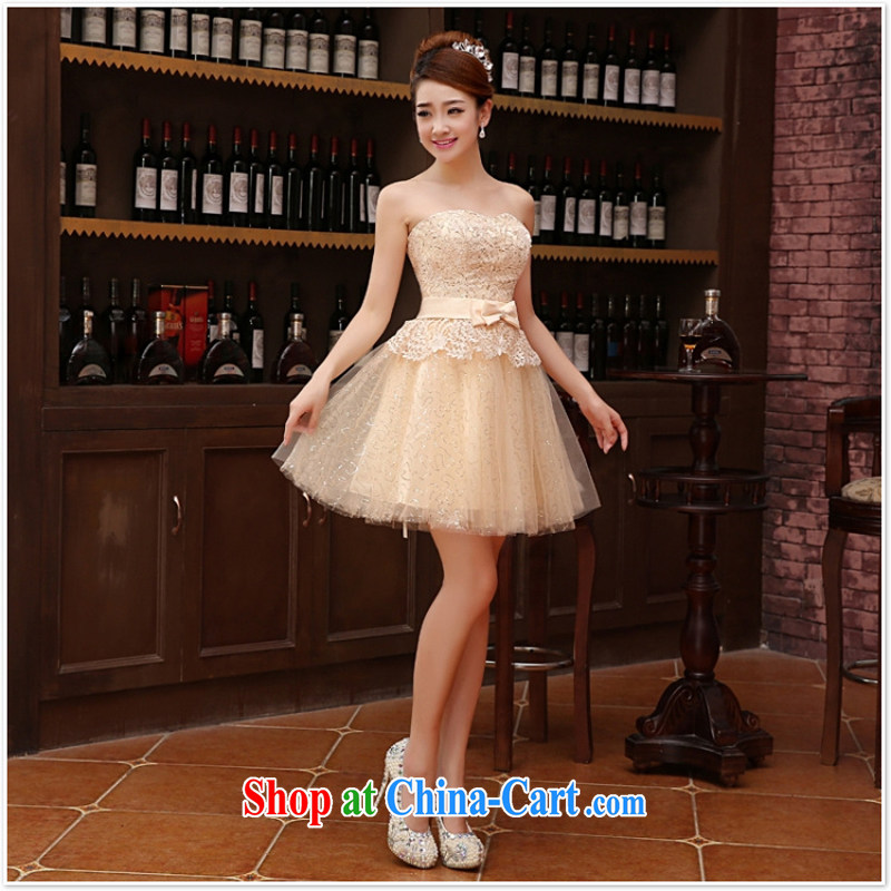 bridesmaid dress 2015 autumn and winter, new bride's bare chest lace dress red bow-tie bows clothes dress pale yellow XL