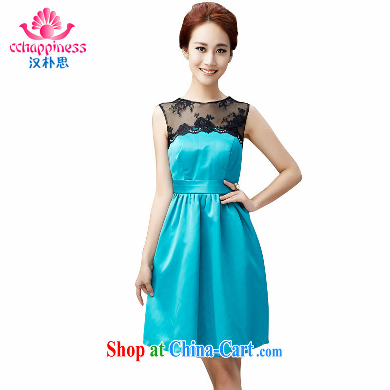 Han Park (cchappiness) 2015 new stylish lace bridal toast serving short bridesmaid dress banquet party Evening Dress green XL