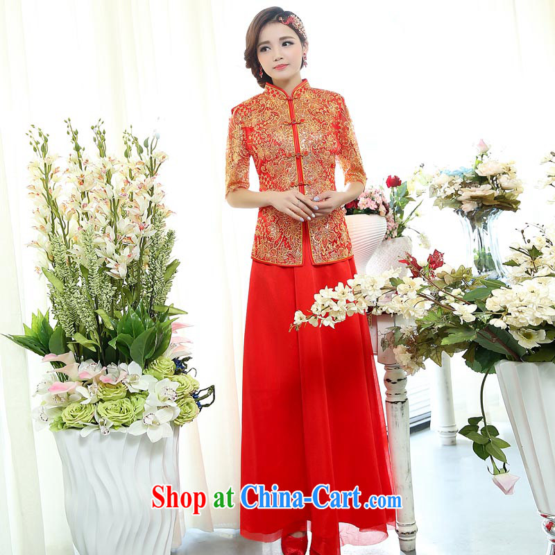 Air Shu Diane 2015 spring new Chinese wedding Phoenix bride use Chinese Dress wedding dresses red dress wedding toast service 1511 photo color S