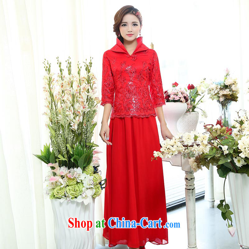 Air Shu Diane 2015 spring new Chinese Winter winter clothing winter, red bridal wedding dress marry Yi long sleeved cotton robes bows service 1509 red S