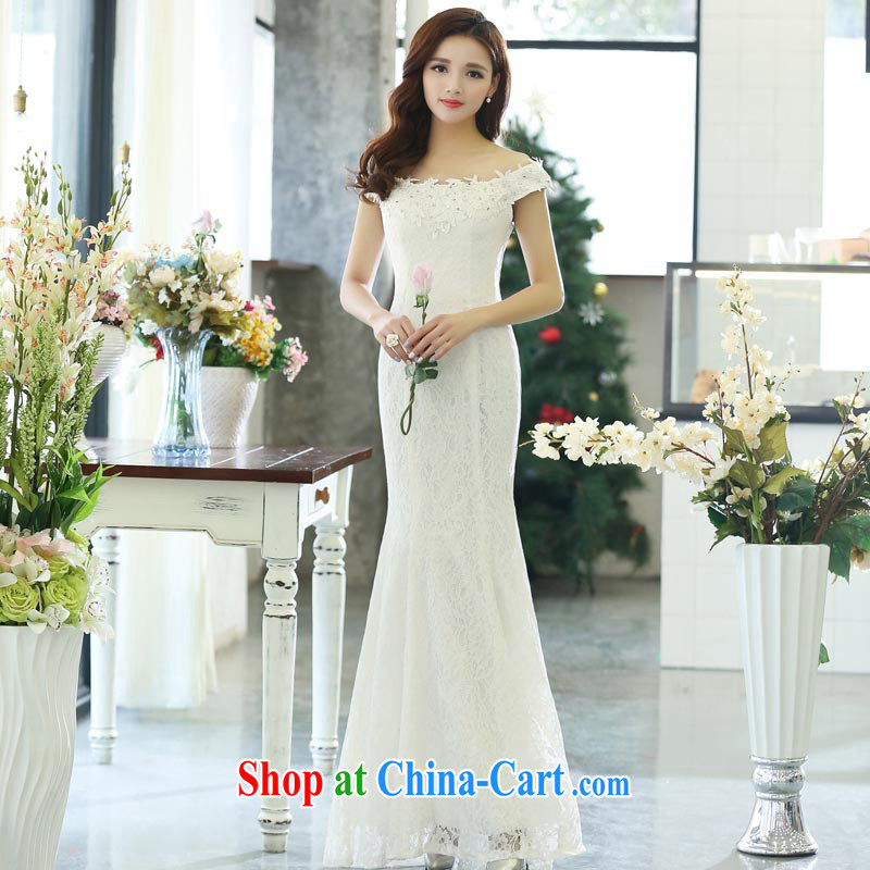 Air Shu Diane 2015 spring new aura gathering annual wedding sexy bare shoulders dress beauty dresses skirts 1515 white M