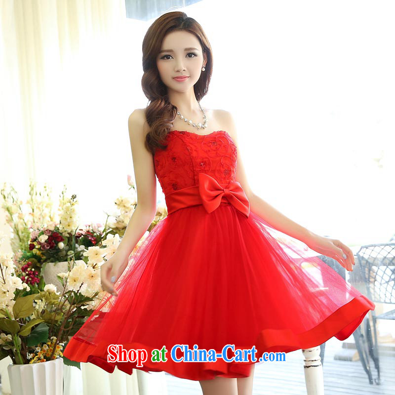 Air Shu Diane 2015 bridal bridesmaid dress red short marriages chest wiped shaggy dress dinner toast small dress skirt red XL