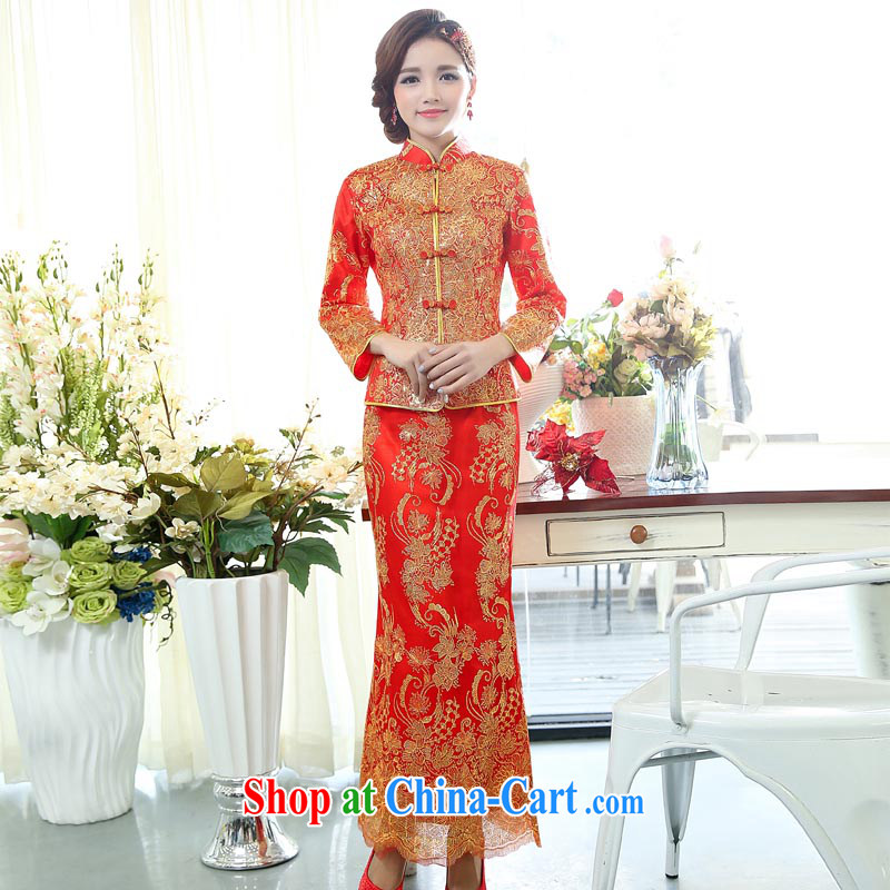 Air Shu Diane 2015 spring new red long-sleeved bridal spring wedding toast wedding long cotton dresses girls dresses use phoenix picture color M