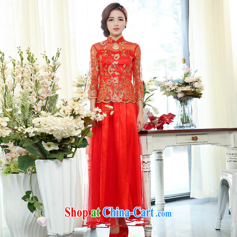 Air Shu Diane 2015 spring new bride toast wedding clothes cheongsam dress retro long dresses, two-piece 1503 photo color L