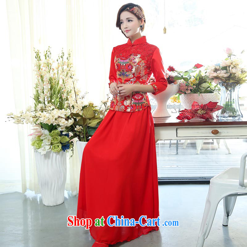 Air Shu Diane 2015 spring new toast service bridal dresses with wedding dress long red lace retro autumn and winter-su Wo service 1506 photo color?XXXL